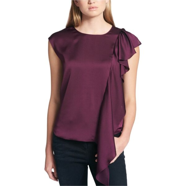 DKNY-Womens-Waterfall-Ruffle-Knit-Blouse,-purple,-X-Large
