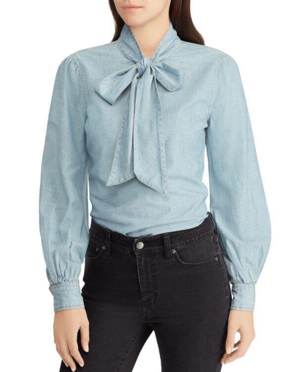 ralph-lauren-Blue-Lauren-Chambray-Bow-neck-Blouse