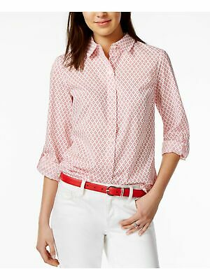 TOMMY-HILFIGER-Womens-Pink-Cuffed-Collared-Button-Up